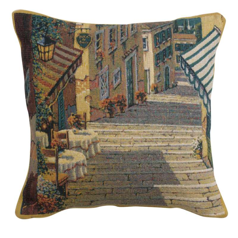 Bellagio Village Two Tables Belgian Tapestry Cushion