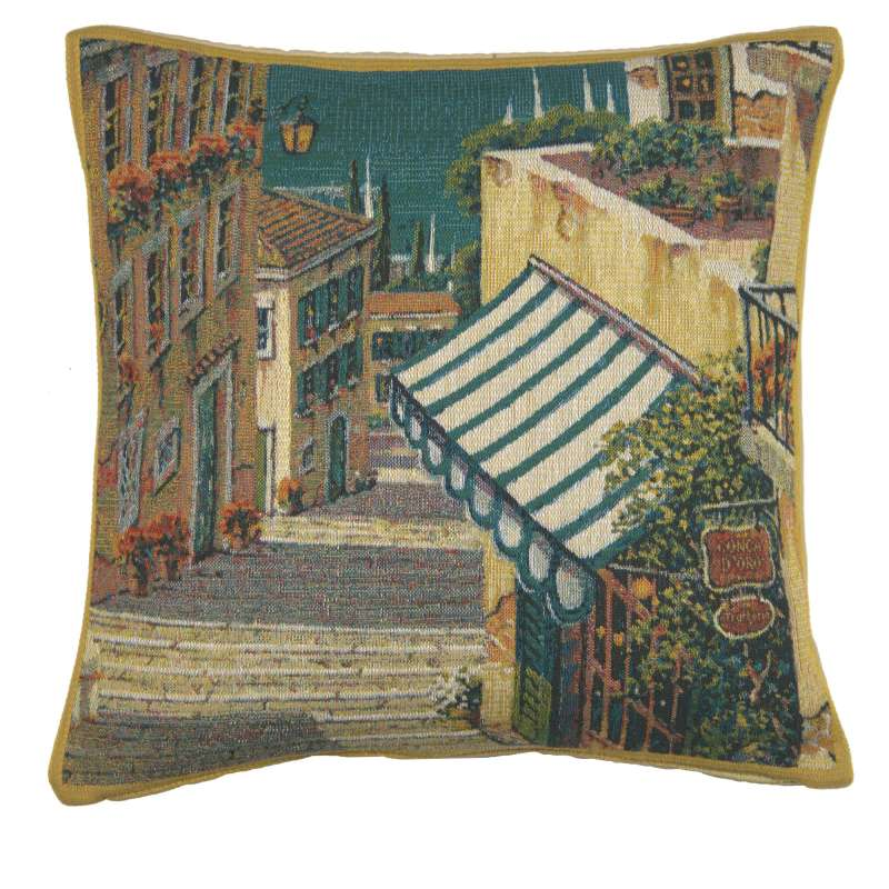 Bellagio Village I Belgian Tapestry Cushion