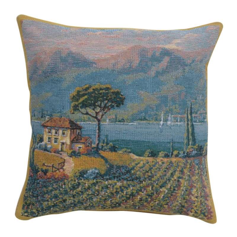 Lakeside Vineyard Left Belgian Tapestry Cushion