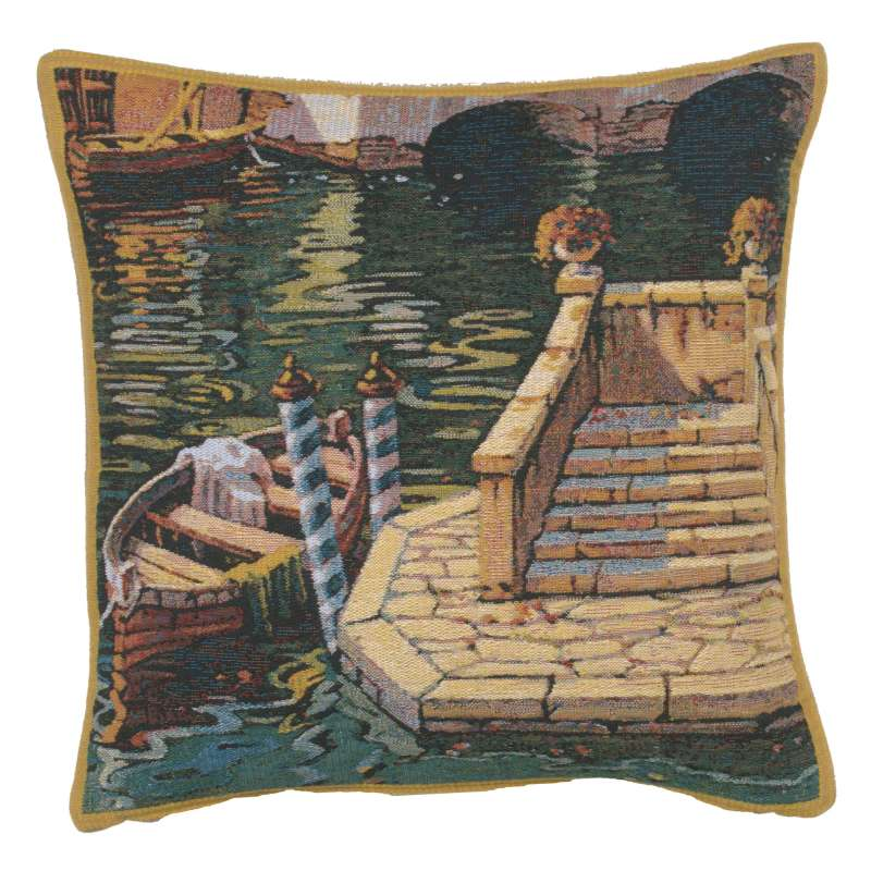 Varenna Reflections Boat Belgian Tapestry Cushion