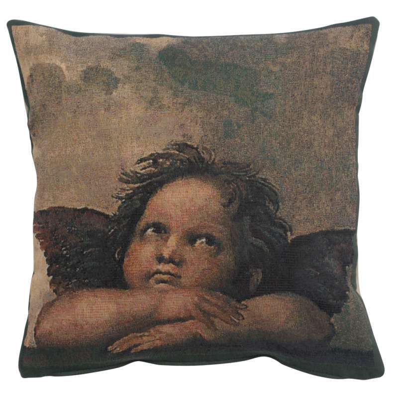 Angels by Raffael right Belgian Tapestry Cushion