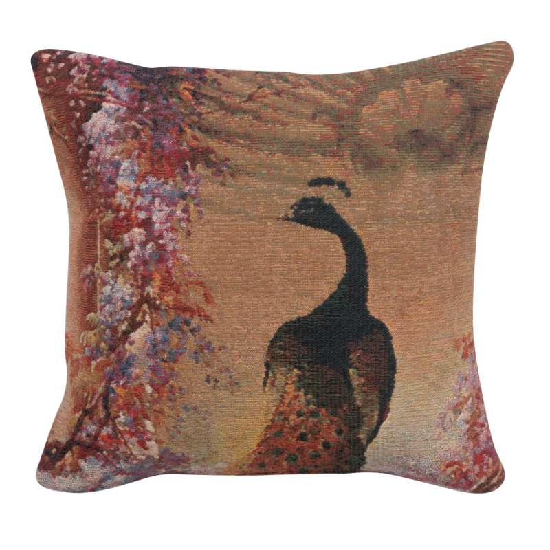 Peacock 1 Belgian Tapestry Cushion