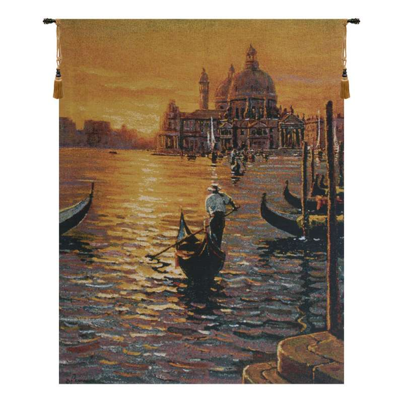 Days End at Venice Belgian Tapestry Wall Hanging