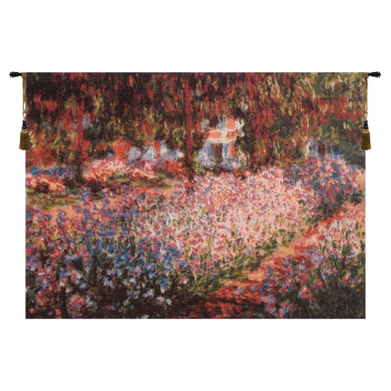 Irises in the Garden Belgian Tapestry Wall Hanging