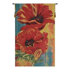 2 Poppys European Tapestry Wall Hanging