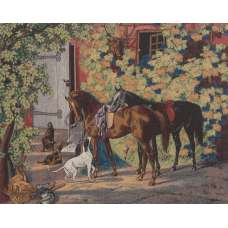 The Hunting Scene Stretched Wall Tapestry